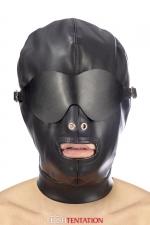 Cagoule simili cuir avec bandeau amovible - Fetish Tentation