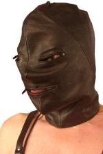 Cagoule en cuir zippée et lacée : Cagoule en cuir noir zippée sur les yeux et la bouche.