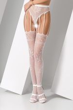 Collants ouverts S016 - Blanc : Collants ouverts en résille blanche fantaisie à motif de roses.