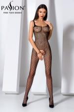 Combinaison BS071 - Noir : Combinaison sexy en résille noire à motifs géométriques, avec une belle ouverture intime du pubis jusqu'aux fesses.