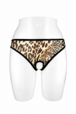 Culotte ouverte Ophelia - léopard : Culotte coquine léopard en résille transparente, ouverte entre les cuisses et sur le bas des fesses, par Fashion Secret.