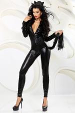 Catchy - costume avec cagoule et queue : Combinaison intégrale moulante effet wetlook, avec cagoule et queue faite de lanières faux cuir.