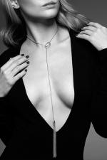 Collier métallique argenté avec franges : Un collier en métal avec un mini fouet à son extrémité, pour un look sexy et branché, mais aussi pour enflammer vos jeux érotiques.