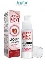 Lubrifiant Liquid Vibrator Fraise 30ml - Amoreane Med : Gel lubrifiant médical à base d'eau avec effet vibrant, parfumé à la fraise, par Amoréane Med.