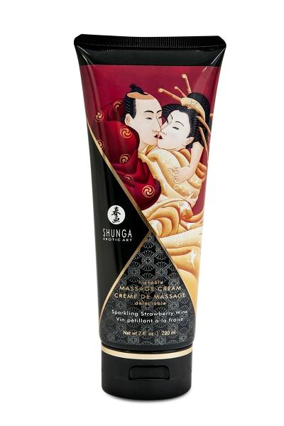 Crème de massage délectable vin pétillant à la fraise -  Shunga