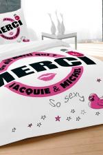 Parure de couette J et M 240x260 cm - blanc : Avec le set housse et 2 taies d'oreillers, qui de mieux que Jacquie et Michel pour décorer son lit d'un message 100% explicite.
