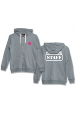 Veste à capuche J&M Staff gris : Veste à capuche grise J&M avec logo JACQUIE & MICHEL STAFF dans le dos et petit logo J&M sur le devant.