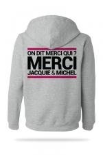 Sweat-shirt Capuche J&M gris : A la demande générale, voici le sweat à capuche J&M pour compléter votre tenue de fan (modèle gris clair).