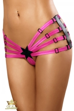 Star - Culotte fendue : 100% coquine, cette culotte fendue rose vif composée d'un agencement de sangles ajustables.