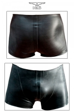 Rubber Shorts : Short court en latex véritable aux découpes anatomiques avantageuses.