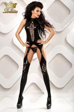 Horny - Combinaison ouverte fetish : Combinaison ouverte à l'entre-jambes en wetlook, et son string assorti.