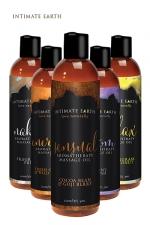 Huile de massage BIO - Intimate Earth : Mélange de différentes huiles certifiés biologiques conviennent aux vegan. Ces huiles sont parfaites pour détendre les muscles endoloris. Sans paraben, fabriqué aux Etats unis. Utilisable au quotidien après la douche. 120ml.