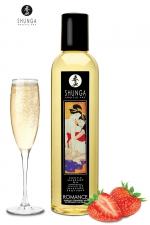Huile de massage érotique - Vin pétillant à la fraise : Huile de massage érotique Romanceau vin pétillant et à la fraise pour éveiller les sens et la réceptivité amoureuse, par Shunga.