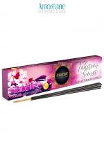 Encens aux phéromones Tahitian sunset - Amoreane : Coffret de bâtons d'encens senteur florale avec une touche de safran est fabriqué en Espagne par Amoreane.