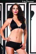 Short et Top Dancing : Ensemble clubwear short court et top bikini, avec boucle et détails strass.