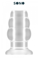 Plug anal creux taille M - SONO : Plug anal translucide, creux au milieu, 10,2 cm de long par 5,7 cm de diamètre maxi.