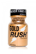 Poppers Gold Rush 10 ml : A base de nitrite de Pentyle, c'est le poppers le plus fort du marché (flacon de 10ml).