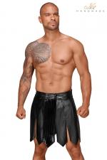 Jupe gladiateur faux cuir H053 : Jupe gladiateur faux cuir, décoré devant d'une bande vinyle plissée retenue par quatre pressions.