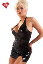 Robe fendue Extase : Mini robe en vinyle dos nu très sensuelle avec sa fente sexy sur le haut de la cuisse.
