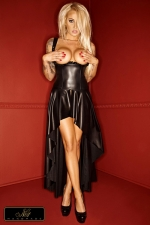 Robe Gula : Robe longue seins nus, lacée dans le dos, et fendue d'une fente impudique depuis les fesses jusqu'aux pieds.