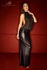 Robe Bad Nymphea : Robe longue en wetlook mat et mousseline transparente, au dos nu plongeant jusqu'à la naissance des fesses.